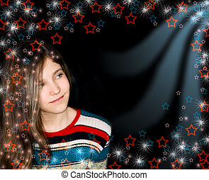Background with portrait teen girl