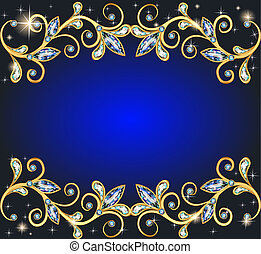 background with precious stones and shining stars -...