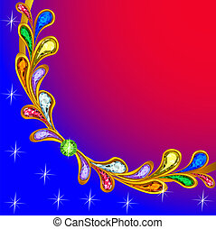 background with precious stones and shining stars