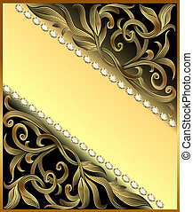 Background with precious stones, golden ornament