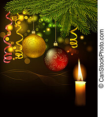 Background with presents and a ribbon. Vector illustration.