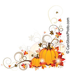 Vector illustration of an abstract autumn background with pumpkins and sparkling stars