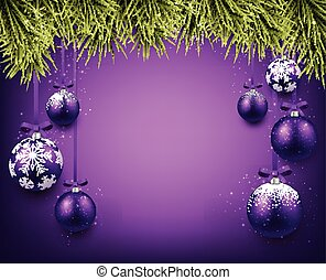 Background with purple christmas balls.
