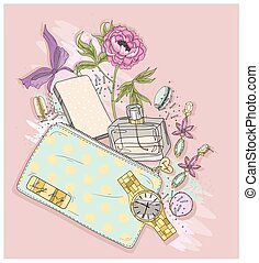 Background with purse, mobile phone