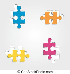 Background with puzzle pieces. Vector illustration