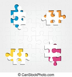Background with puzzle pieces. Vector illustration -...