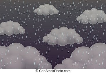 Background with rain in dark sky
