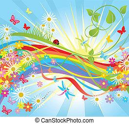 Background with rainbow