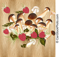 Background with raspberry and mushrooms on a hardwood texture