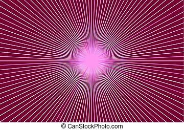 Background with rays, pink starburst banner