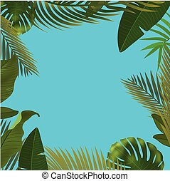 Background with realistic green palm leaf branches on blue background. flat lay, top view