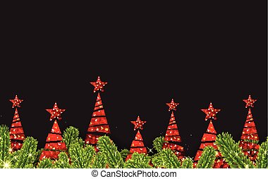 Background with red abstract Christmas trees.