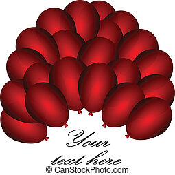 background with red balloons. Vector