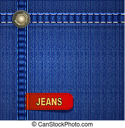 background with red denim label - vector background with red...