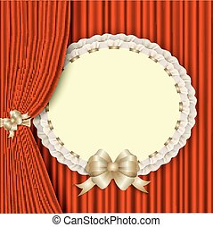 background with red drapery and elegant blank postcard - ...