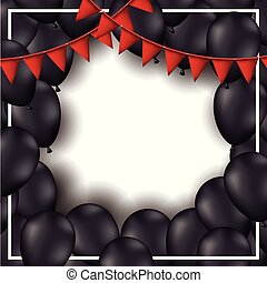background with red festoons and black balloons in white backdrop