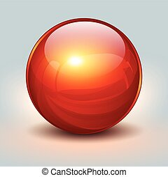 Background with red glass ball