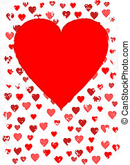 Background with red grunge hearts