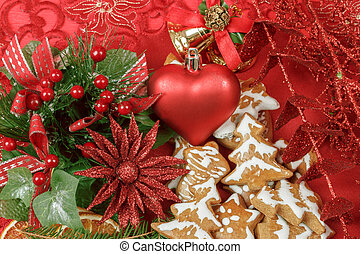 background with red heart, and gingerbreads