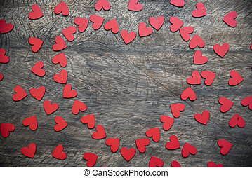 background with red hearts, place for text, Valentine's Day
