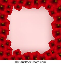 Background with Red Poppies isolated on white.