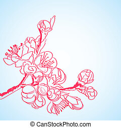 background with red sakura flowers