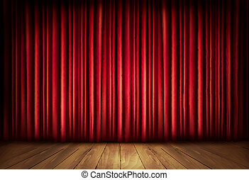 Background with red velvet curtain and a wooden floor. ...