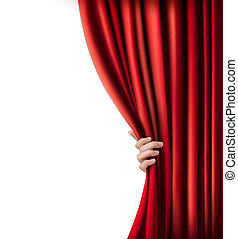 Background with red velvet curtain and hand. Vector ...