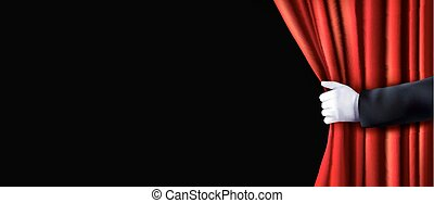 Background with red velvet curtain and hand. Vector...