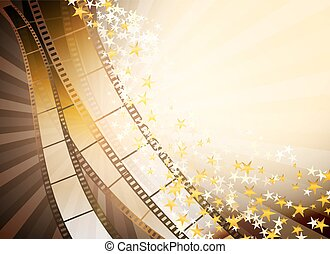 background with retro filmstrip and golden stars