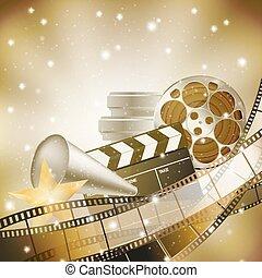background with retro filmstrip and stars - cinema...