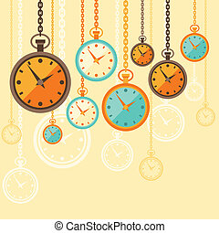 Background with retro watches in flat style.