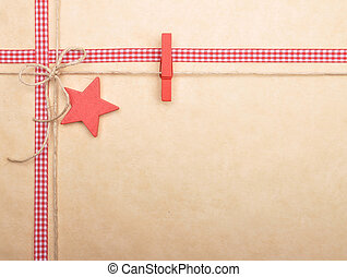 Background with ribbon and twine