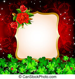 Background with roses and clove