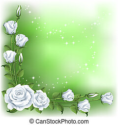 Background with roses - Green background with white roses