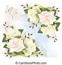 Background with roses. Imitation of watercolor painting.