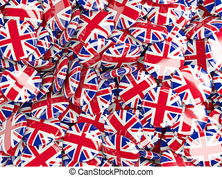 Background with round pins with flag of united kingdom