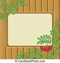 Background with rowanberry and table