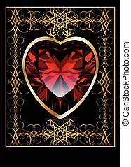 Background with ruby red heart and gold ornamental design,...