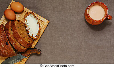 Background with rural styled organic breakfast or lunch