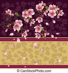 Background with sakura branch - Japanese cherry tree