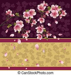 Background with sakura branch - Japanese cherry tree