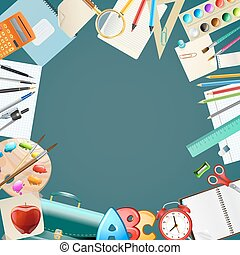 background with school items. vector illustration