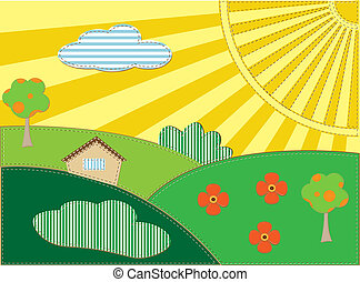 Background scrapbooking landscape with house, sun and trees