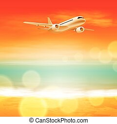 Background with sea and airplane in the sky