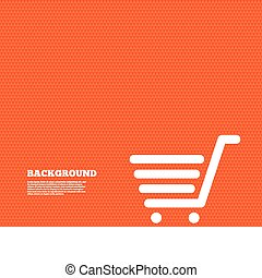 Background with seamless pattern. Shopping Cart sign icon. Online buying button. Triangles orange texture. Vector