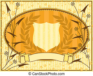 Background with shield and floral elements