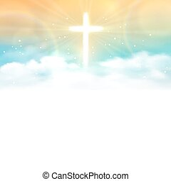 Background with shining across and heaven with white clouds. Vector illustration, eps10.