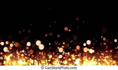 Background with shiny golden particles. Glittering rising gold particles. Beautiful bokeh light background. Golden confetti with magical shimmering sparkling light. Seamless loop
