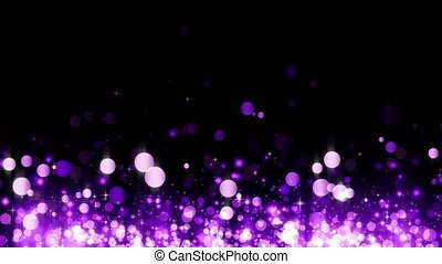 Background with shiny magenta particles. Beautiful bokeh light background. Magenta confetti shimmering with magical sparkling light. Glittering rising particles. Seamless loop